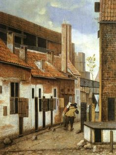 Street Scene with Two Figures Walking Jacobus Vrel - Date unknown