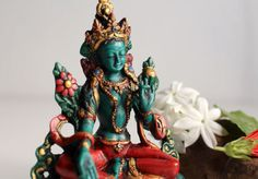 """Turquoise and Coral Toned Resin Green Tara Statue 5"""""""