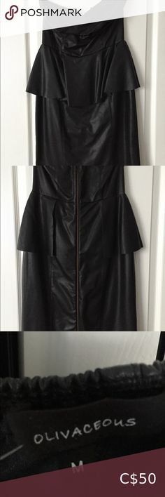 Olivaceous Black faux leather peplum dress sz med Dress worn once in like new condition with tag. Length is under the knee. Zip at back. Leather Peplum, Black Faux Leather, Peplum Dress, Strapless Dress, Guess Dress, Club Dresses, Dress Wedding, Plus Fashion, Fashion Tips