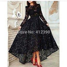 Designer Black Lace mangas alta baixo longo árabe vestidos frente curto longo vestidos de festa vestido de Dubai em Vestidos de Noite de Casamentos e Eventos no AliExpress.com   Alibaba Group