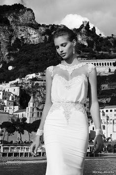 michal medina spring 2016 bridal illusion long sleeves bateau neckline lace collar sheath wedding dress mariah closeup view