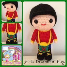 Darcy's Dolls Little Drummer Boy, custom made, Christmas crochet doll. www.facebook.com/Darcysdolls