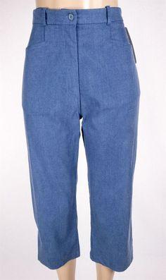 TILLEY ENDURABLES New Crops Size 10 M Blue Faded Tencel Pants Travel $139 #TilleyEndurables #CaprisCropped
