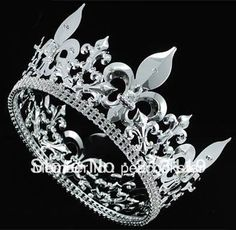 $45 Wholesale Men's Imperial Medieval Fleur De Lis Full Circle Round Silver King Crown CT1717-in Hair Jewelry from Jewelry on Aliexpress.com