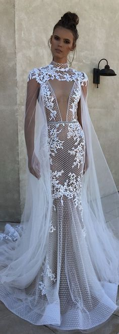 Fitted Wedding Dress with cape by Berta Bridal | @bertabridal