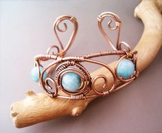 Bracelet Wire Wrapped Copper and Blue Aquamarine Agate - Jewelry Handmade Bracelet Hammered Copper Wire Wrap Bracelet