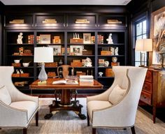 Navy library/office in the Southern Living Showcase Home by Hatcliff Construction Nice 43 Extraordinary Small Home Office Design Ideas With Traditional Themes. Office Interior Design, Office Interiors, Home Interior, Office Designs, Home Office Space, Home Office Decor, Home Decor, Office Den, Vintage Office Decor