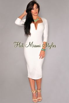 Off-White Plunging V Neck Midi Padded Dress Womens clothing clothes hot miami styles hotmiamistyles hotmiamistyles.com sexy club wear evening  clubwear cocktail party kim kardashian dresses