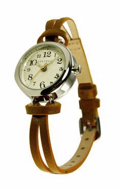 Analog watch with a brown band