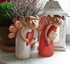 Polymer Clay Christmas, Polymer Clay Crafts, Ceramics Projects, Clay Projects, Ceramic Painting, Ceramic Art, Clay Angel, Pottery Angels, Pottery Handbuilding