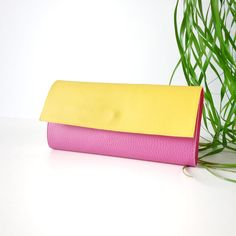 Yellow and pink Cruelty-free Vegan wallet / two toned Womens wallet / Color block wallet / Handmade in Italy wallet / Vegan leather wallet by PittiVintage on Etsy