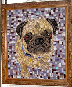 Mosaic pug. Great choice of background color, really makes the subject stand out. Artist?