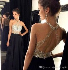 Sexy Black Halter Prom Dresses 2016 Chiffon Sheer Mesh Top Beaded Backless Evening Dresses Party Gown, Party Dress ,254