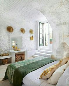 Modern Interior Design Ideas with White Brick Walls Ideas Dream Bedroom, Home Bedroom, Brick Bedroom, Master Bedroom, Summer Bedroom, Bedroom Ideas, Airy Bedroom, Modern Bedroom, European Bedroom