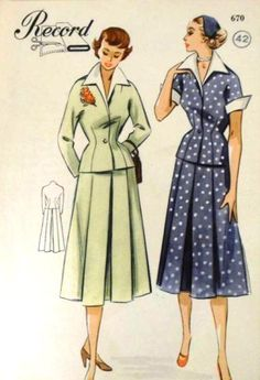 More plans for Vintage Pattern Pledge 50s Vintage, Vintage Style, 40s Fashion, Vintage Fashion, 1950s Outfits, White Collar, Skirt Suit, Vintage Sewing Patterns, Chiffon Dress