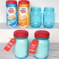 As fate would have it, Coffeemate lids fit perfectly onto mason jars. This blogger dressed up her coffee corner by storing the powdered creamer inside cute jars, but you can also use this trick to store and pour coffee, sugar, or grains. Get the tutorial at Yesterday on Tuesday .