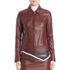 Sonia by Sonia Rykiel Bordeaux Collared Leather Jacket ($850) ❤ liked on Polyvore featuring outerwear, jackets, apparel & accessories, burgundy, real leather jackets, red leather jacket, long sleeve jacket, zip front jacket and burgundy leather jackets