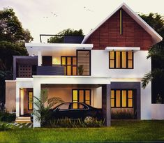 Searching for 2300 sq ft 4 bed room modern home design pictures ? then here is a modern below 2300 sq ft 4 bed room luxury Kerala style villa design idea from leading home design team cochin… Modern Small House Design, Bungalow House Design, House Front Design, Modern Villa Design, Modern Bungalow, Indian Home Design, Kerala House Design, Free House Plans, Modern House Plans