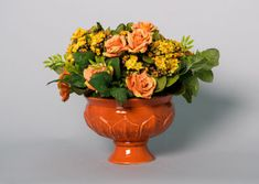 Kalanchoe Plant with Peach Princess Roses in a Ceramic Pedestal Urn