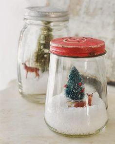 winter scenes in jars ~ dry snowglobes ~ Of hearth and home