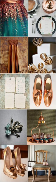 Move over gold and silver, as modern metallics go this autumn, copper is the new black. As always, your theme begins with your invitations, and copper calligraphy is just the way to introduce this rich, exciting autumn theme to proceedings. And if a copper clad wedding party seems like a bit too much, try teal gowns with copper accessories - Teal is a wonderfully bright and bold shade to balance out this iridescent tint, and the two together create a rich, old-world feel