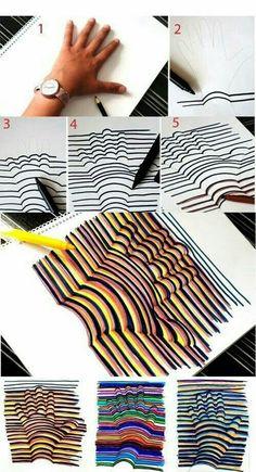 Maak van je hand een 3D tekening. In onze Knutsel-SpeelOtheek staat een video waarop duidelijk te zien is hoe je dat maakt. http://www.peuteractiviteitenweb.com/a-41085935/knutsel-en-speelactiviteiten/3d/