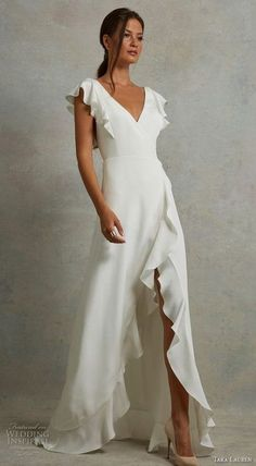 tara lauren spring 2018 bridal short butterfly sleeves v neck simple clean mid slit skirt elegant a line wedding dress open v back sweep train mv -- Tara Lauren Spring 2018 Wedding Dresses Source by luchiapestegui outfits Best Wedding Dresses, Wedding Gowns, Bridesmaid Dresses, Prom Dresses, Formal Dresses, Wedding Dresses Simple Short, Casual Bridal Dresses, Wedding Dress 2018, Low Key Wedding Dress
