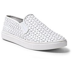 Steve Madden Women's Excel Sneakers ($60) ❤ liked on Polyvore featuring shoes, sneakers, flats, zapatos, white, white slip on shoes, steve-madden shoes, slip on shoes, white shoes and white sneakers