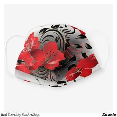 Red Floral Cloth Face Mask Flower Patterns, Flower Designs, Black Flowers, Different Flowers, Snug Fit, Sensitive Skin, Face, Floral, Pretty