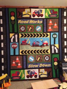 A dirt movers quilt. Fun if you like appliquéd quilts.