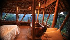 If I had the money, I would buy one of these sustainable bamboo homes in Ubud, Bali and live there happily. Sustainable Building Materials, Sustainable Architecture, Bamboo Architecture, Maldives, Bungalow, Bamboo House, Bamboo Design, River House, Bali Indonesia