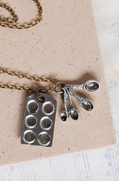 Bakers NECKLACE Tiny Measuring Spoons Cupcake Silver Muffin Chef Cook Waitress Baker