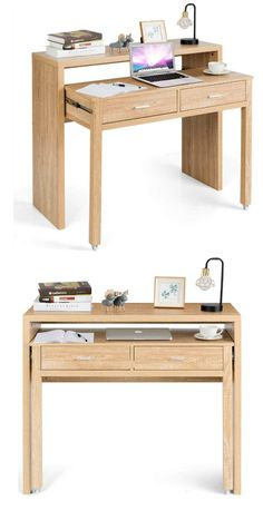 15 gorgeous desks that work well in small spaces - Living in a shoebox Small Room Desk, Small Space Bedroom, Desk In Living Room, Desks For Small Spaces, Furniture For Small Spaces, Work Spaces, Small Workspace, Small Space Office, Small Living Spaces