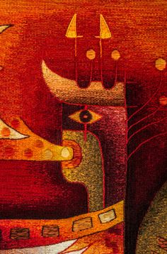 """Handwoven Tapestry """"Synchronization with the Moon"""". Tapestry Detail /// Price: US$ 2,000 including Worldwide Shipping."""
