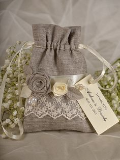 Natural Rustic Linen Wedding Favor Bag  with PERSONALIZED Ecru Tag , Shabby Chic Flavor Bag  custom colors on Etsy, $3.50