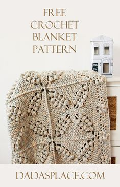 FREE crochet pattern: Norwegian Forest blanket designed by Dada's place. If you love vintage crochet and beautiful beginner friendly crochet patterns, visit . You can make this beautiful, popcorn stitch, vintage style crochet blanket for FREE. Crochet Throw Pattern, Vintage Crochet Patterns, Crochet Square Patterns, Blanket Crochet, Afghan Patterns, Crochet Afghans, Vintage Knitting, Crochet Video, Easy Crochet