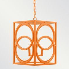 Oslo Powder Coated Chandelier | Doodle Home - Orange light fixture by Shine by S.H.O #orangelightfixture #metalfixture #interiordesign