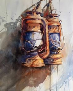 11 Watercolor Paintings by Brazilian Artist Antonio Giacomin Fall Canvas Painting, Abstract Canvas, Old Lanterns, Arte Sketchbook, Watercolor Sketchbook, Cool Paintings, Art Club, Oeuvre D'art, Artist Art