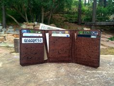 Vegan Leather Tri Fold Wallet / Cork Leather Wallet / Men's Cork Wallet / Men's…