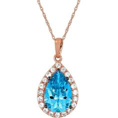 Le Vian Ocean  Topaz and White Sapphire 14K Rose Gold Necklace ($1,600) ❤ liked on Polyvore featuring jewelry, necklaces, blue, 14k pendant, rose gold pendant, rose gold necklace, blue topaz necklace and blue pendant