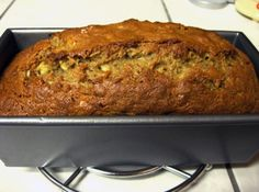 """I was given this recipe in Culinary School by one of my Professors, and I can't get enough....This is her written biography...'This is my mom's dense, excellent and definitely unhealthy banana nut bread recipe.  This is great at parties, but hazardous at home.  Use any type of fat in place of the butter, such as shortening or oil.  It works with brown or white sugar"""".  I followed the recipe to the exact measurements, and I will have to admit that I almost ate the whole loaf a..."""