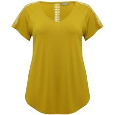 M&Co Plus Crochet Trim T-Shirt (€26) ❤ liked on Polyvore featuring tops, t-shirts, citrine, plus size, plus size t shirts, yellow t shirt, short sleeve t shirts, short sleeve tee and summer tops