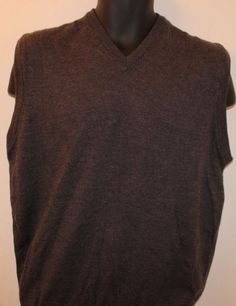 Mario Gilberti  men's V-Neck Merino Wool Sweater Gray Size XL #MarioGilberti #VNeck