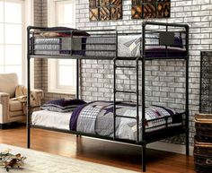 Shop the Industrial Piping Twin Metal Bunk Bed featuring an authentic throwback look in antiqued black finish.