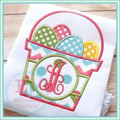 By Category :: Holidays & Special Occasions :: Easter :: Monogram Easter Basket - Embroidery Boutique