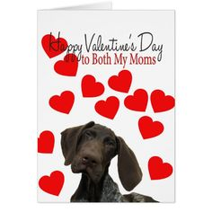 Both My Moms Glossy Grizzly Valentine Puppy Love Card