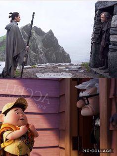 """Rey:""""Can I come in?"""" Luke:""""...........No."""" *shuts door*"""