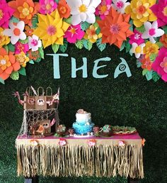 Moana backdrop with sweets table set-up. Moana Birthday Party, Moana Party, Summer Birthday, 3rd Birthday Parties, Birthday Party Favors, Moana Theme, Baby Birthday, Girl Birthday Decorations, Girl Birthday Themes