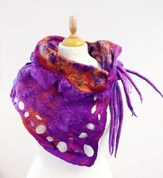 Lena Archbold creates lots of her nuno felt with Margilan silk. Silk is available to but from her online shop. Creative Workshop, Types Of Craft, Nuno Felting, Textile Artists, Orange And Purple, Neck Scarves, Neck Warmer, Wearable Art, Textiles