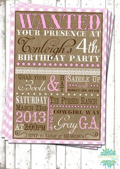 Cowgirl Cuteness - A Customizable Birthday Invitation - Cowgirl Party - Western Party Second Birthday Ideas, Girl 2nd Birthday, Cowgirl Birthday, 6th Birthday Parties, Rodeo Party, Cowboy Theme Party, Horse Party, Vintage Cowgirl, Western Parties